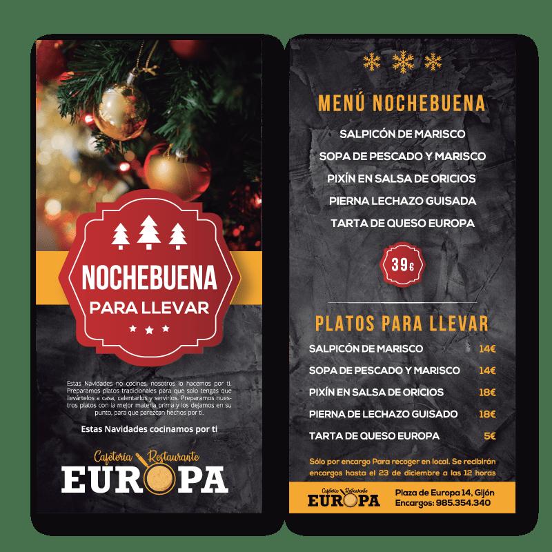 Menús y carta para llevar estas Navidades de Cafetería Restaurante Europa de Gijón
